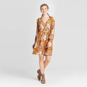 Floral V-Neck Wrap Button-Down Mini Dress Mustard